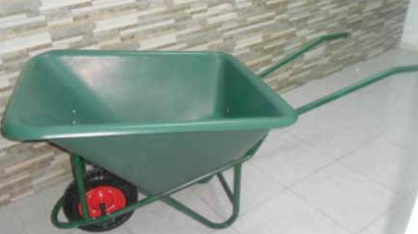 A 130 Liter One Wheeled Plastic Wheelbarrow