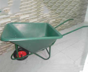 A 130 Liter One Wheeled Plastic Wheelbarrow
