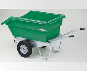 A 350 Liter One Wheeled Plastic Wheelbarrow